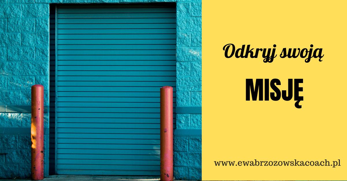 Zamknięte drzwi, które wymagają otworzenia,by dowiedzieć się, co jest wewnątrz, Obok napis na żółtym tle Odkryj swoją misję oraz adres strony internetowej www.ewabrzozowskacoach.pl