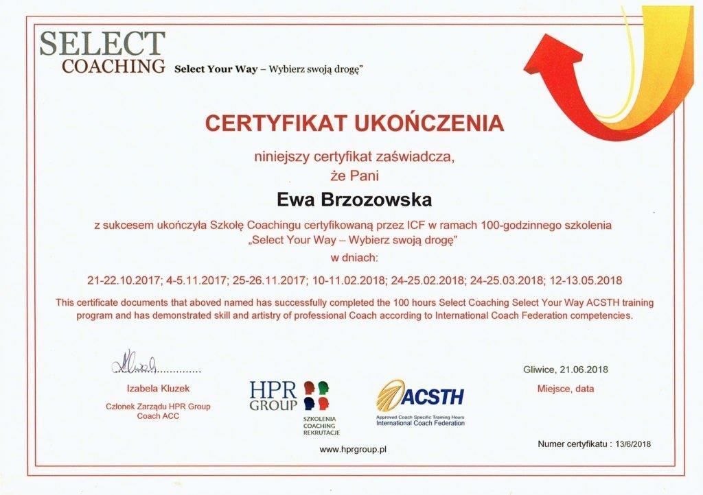 Certyfikat coachingu Ewa Brzozowska