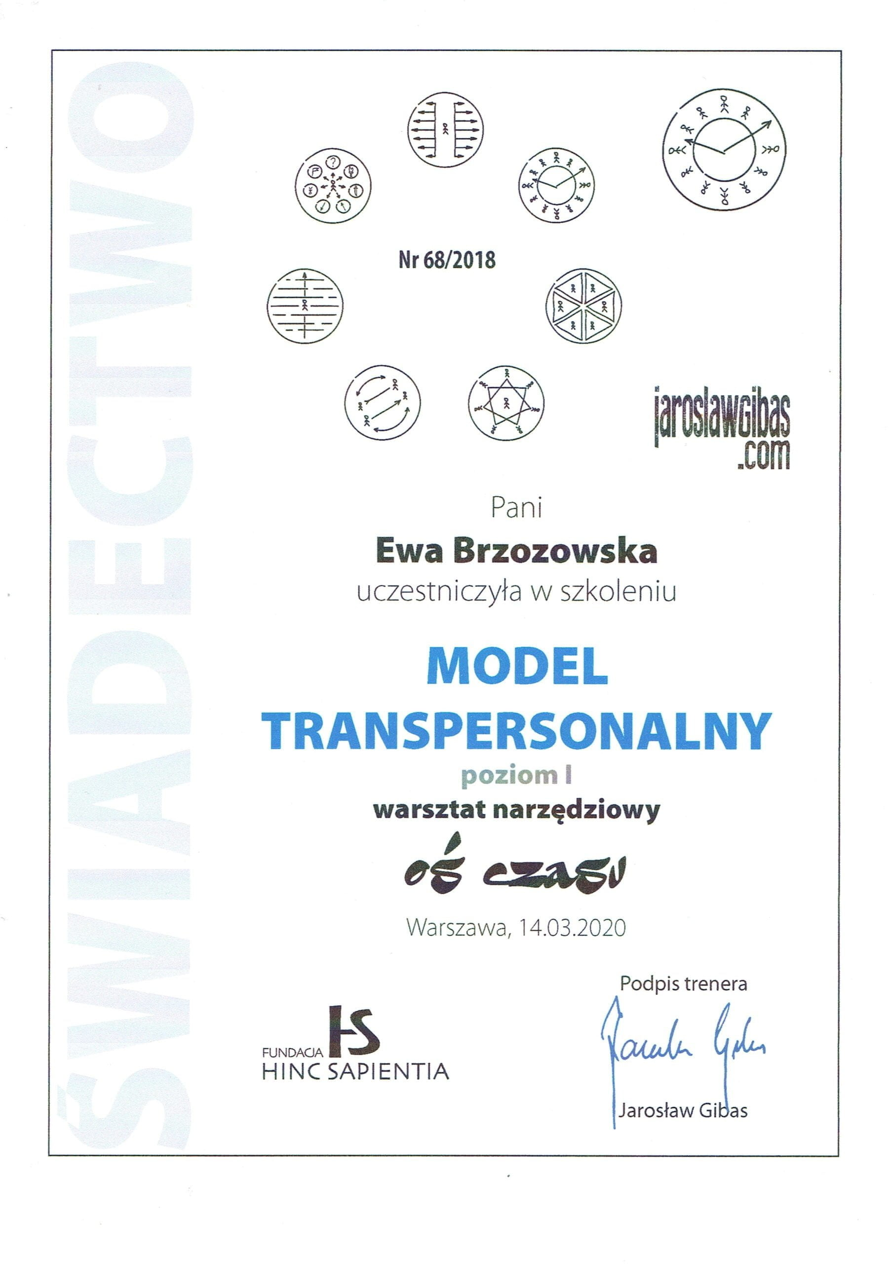 Ewa Brzozowska dyplom model transpersonalny