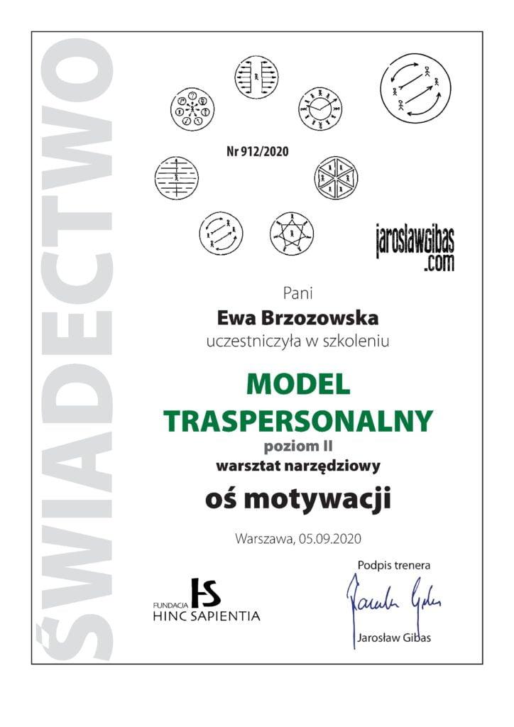 Certyfikat Ewa Brzozowska Modle Transpersonalny Os Motywacji wydany przez fundację HInc Spanienta Jarosław Gibas