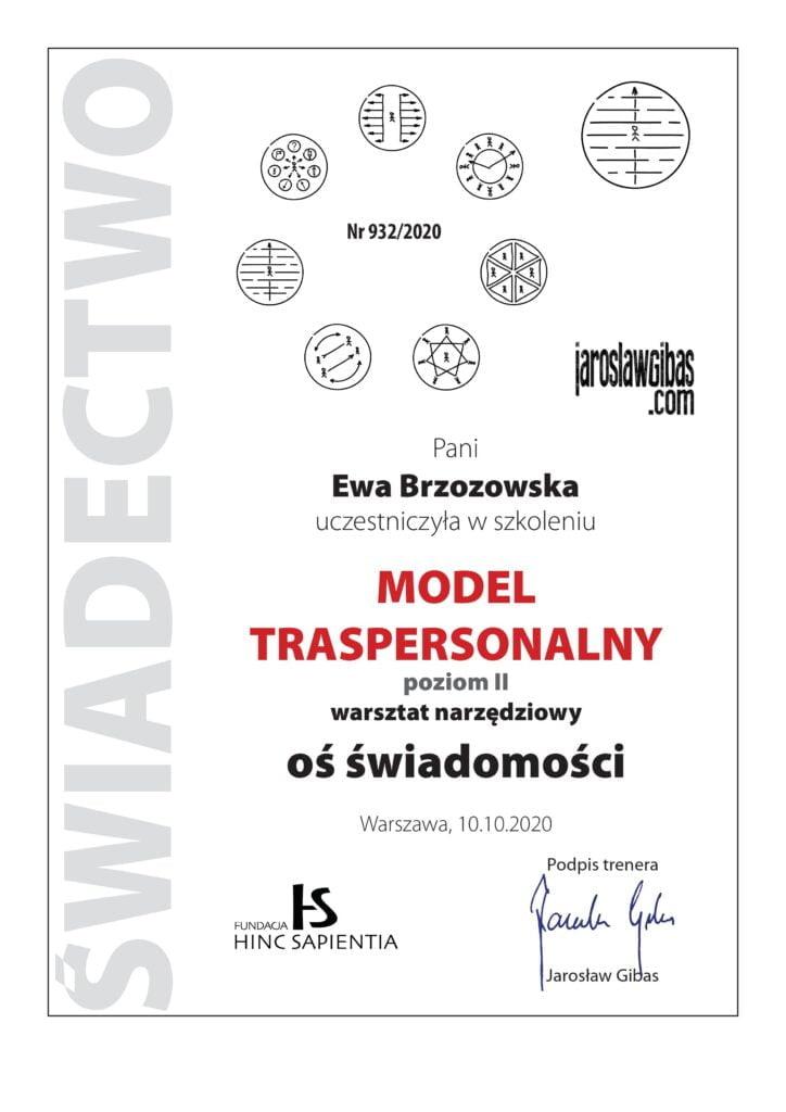 Certyfikat dla Ewy Brzozowskiej za udział w szkoleniu Transpersonalny Model Zmian Oś świadomości
